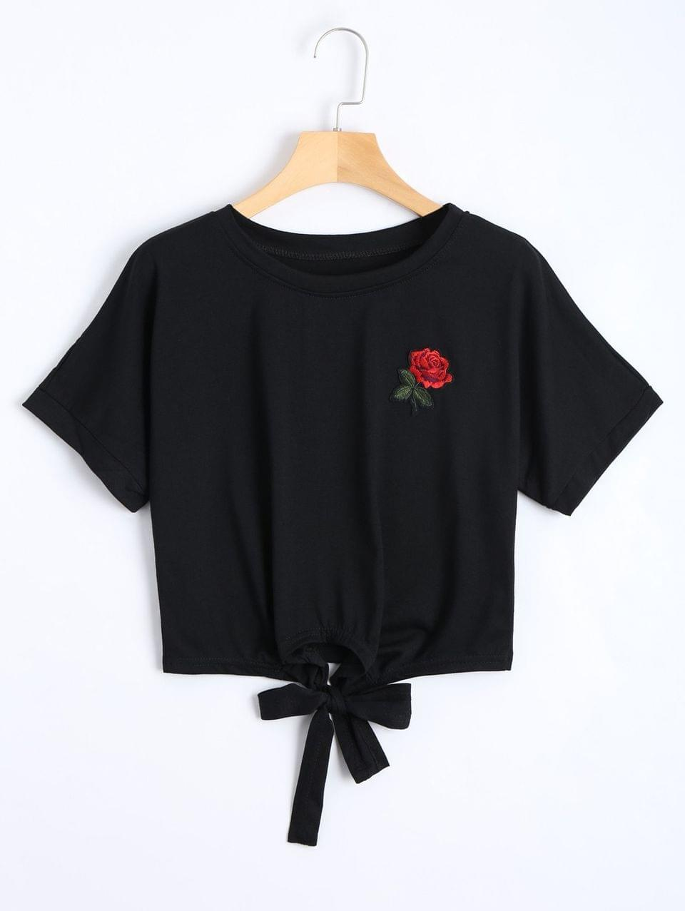 Women's Bow Tied Floral Embroidered Cropped Top - Black M