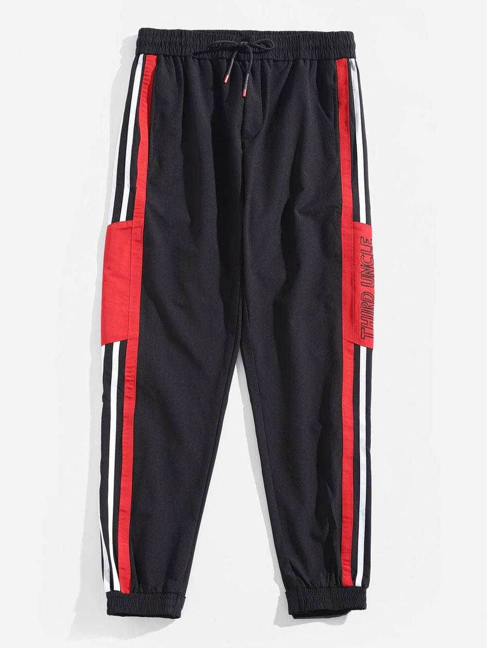 Men's Contrast Trim Stripes Spliced Letter Embroidery Jogger Pants - Lava Red M