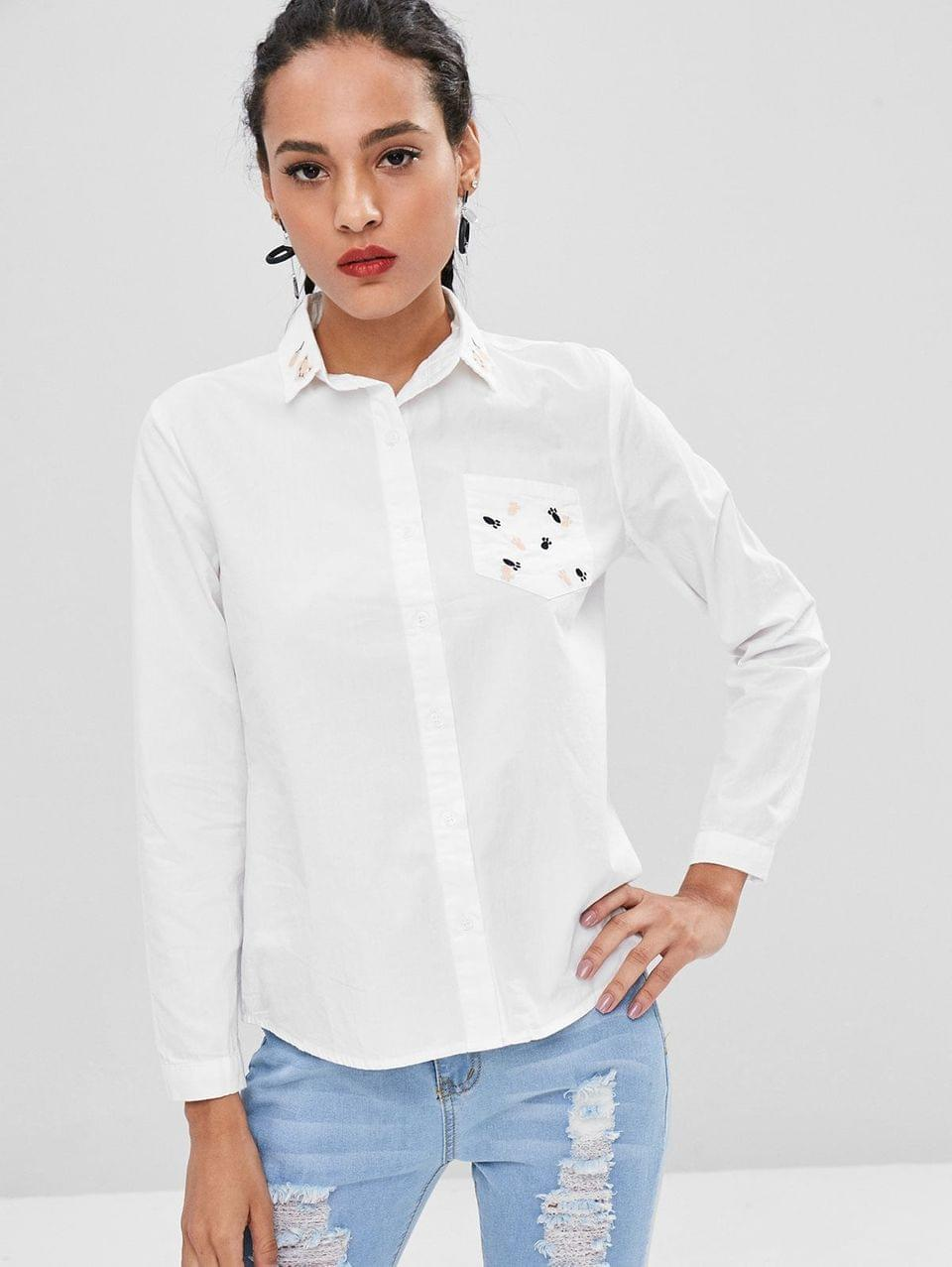 Women's Little Feet Embroidery Cotton Shirt - White L
