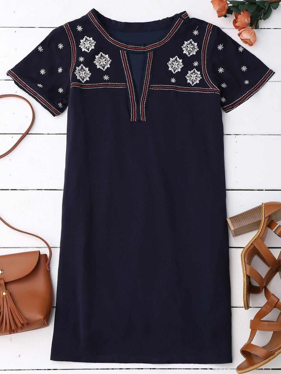 Women's Embroidered Shift Ethnic Dress - Black Blue L