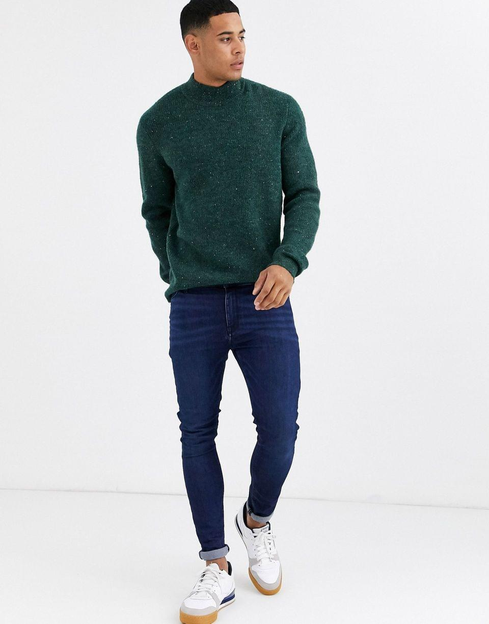 Men's Only & Sons high neck fleck ribbed knitted sweater in green