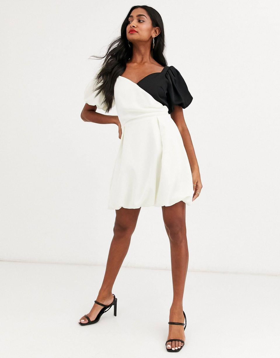 Women's Atoir lost to the night puff sleeve contrast mini dress