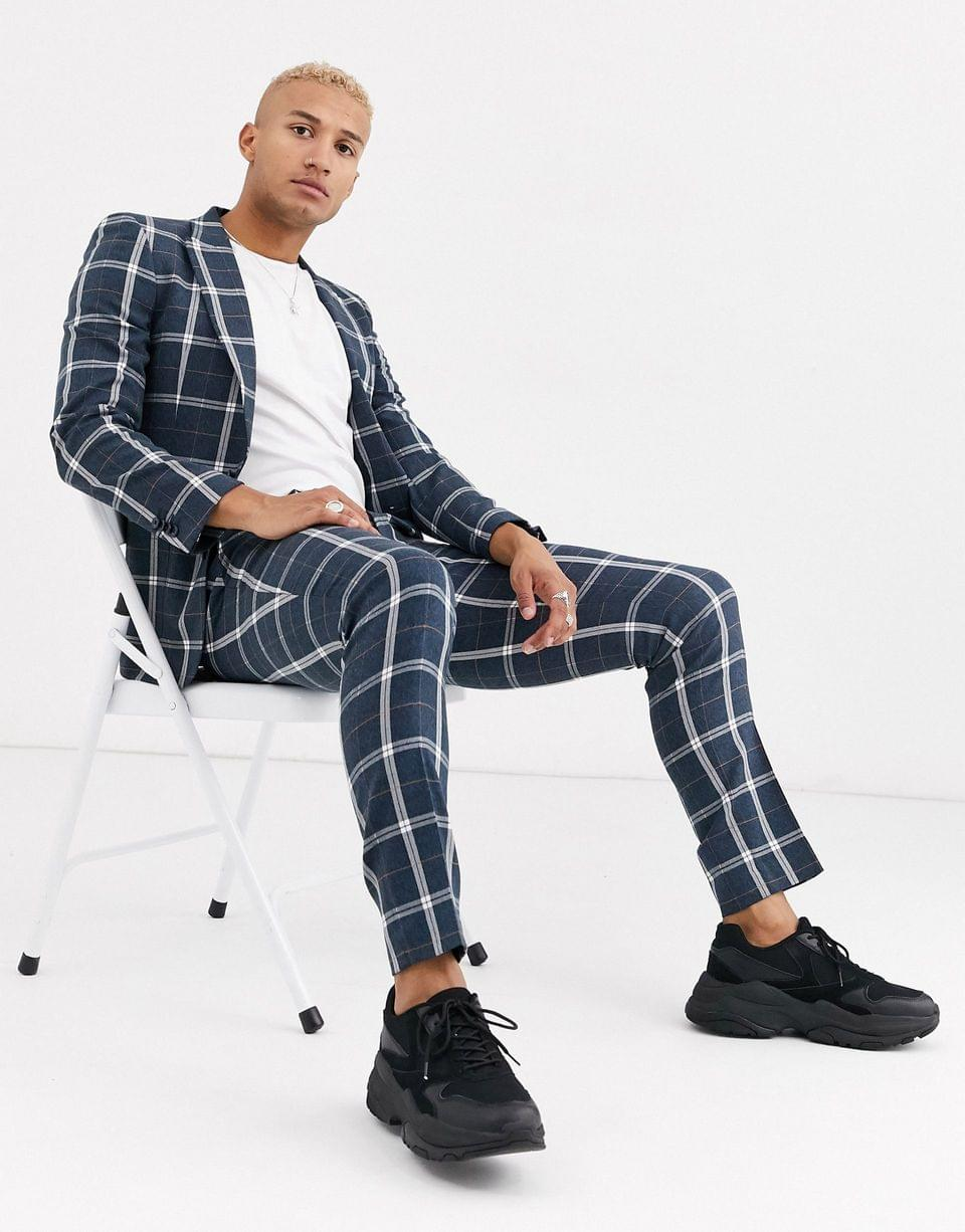 Men's skinny suit pants in in blue and white check