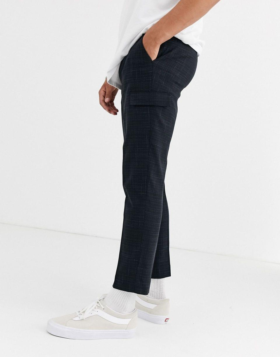 Men's skinny crop smart pants with cargo pockets in black and blue cross hatch