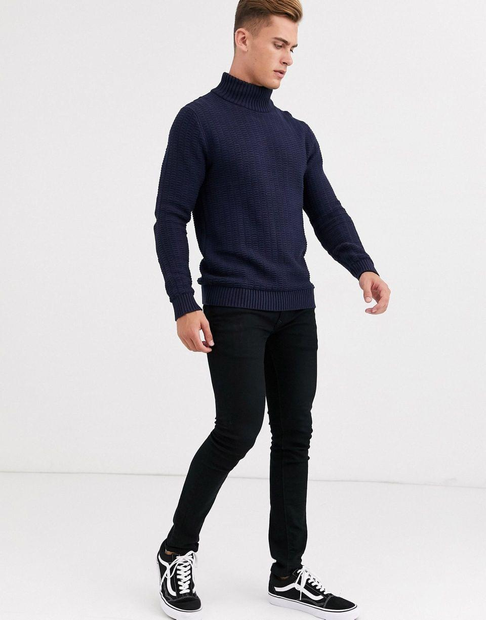 Men's Selected Homme high neck textured sweater in navy