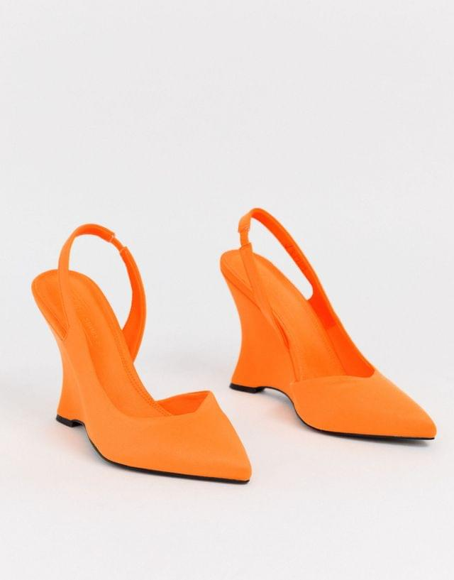 WOMEN Poison pointed slingback wedges in bright orange