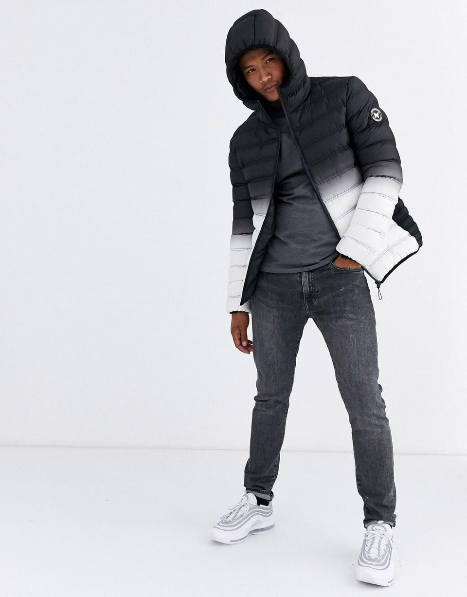 Men's Good For Nothing hooded puffer jacket in gradient black