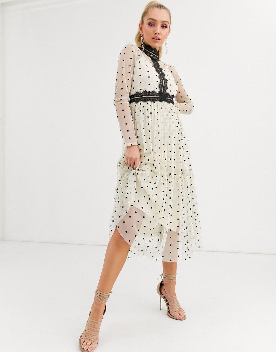 Women's Lace & Beads long sleeve polka dot midi dress with lace inserts in cream/black