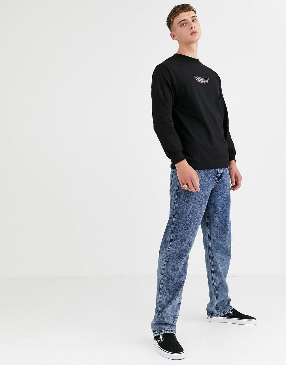 Men's Parlez Byers embroidered long sleeve top in black