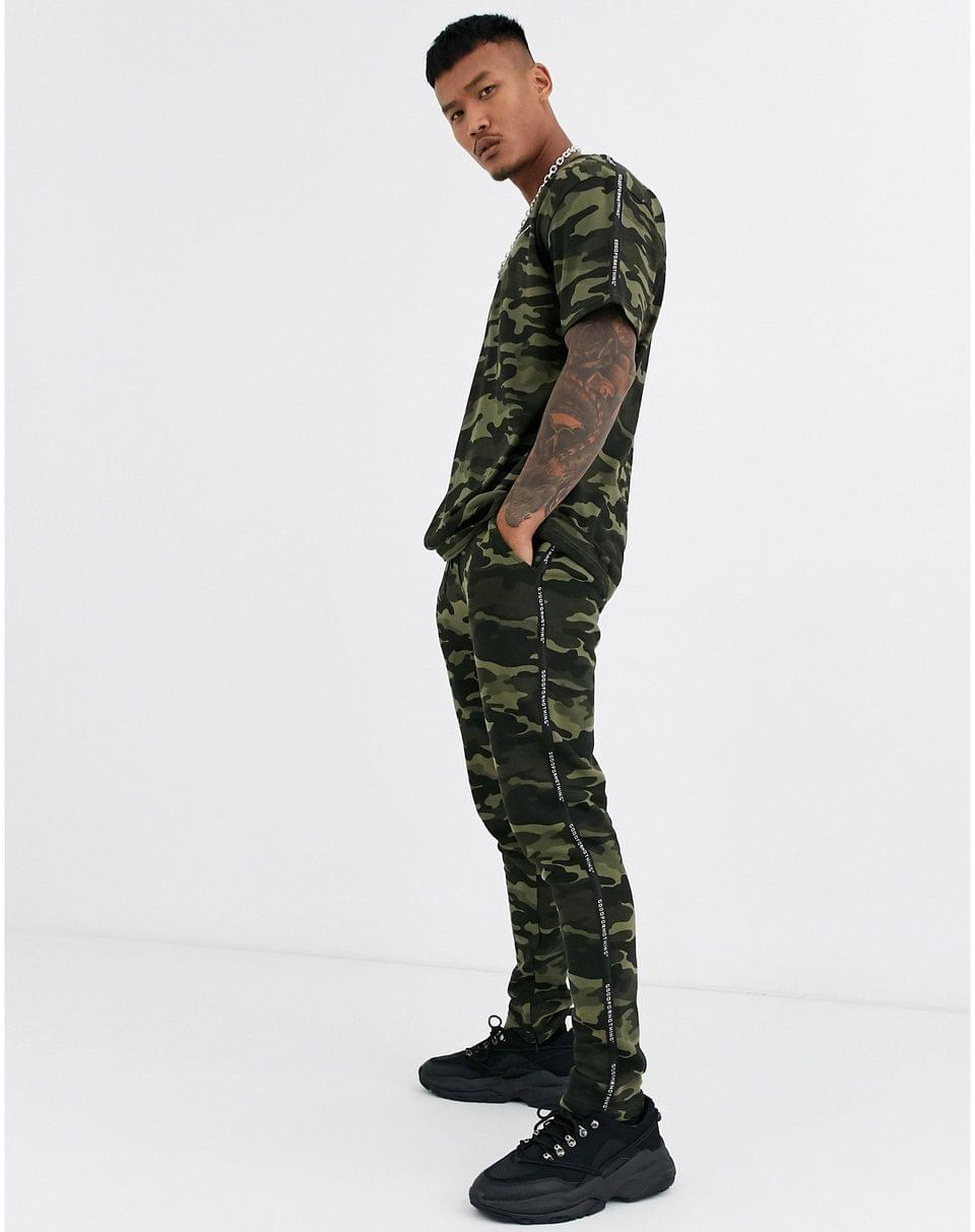 Men's Good For Nothing oversized t-shirt in camo with logo