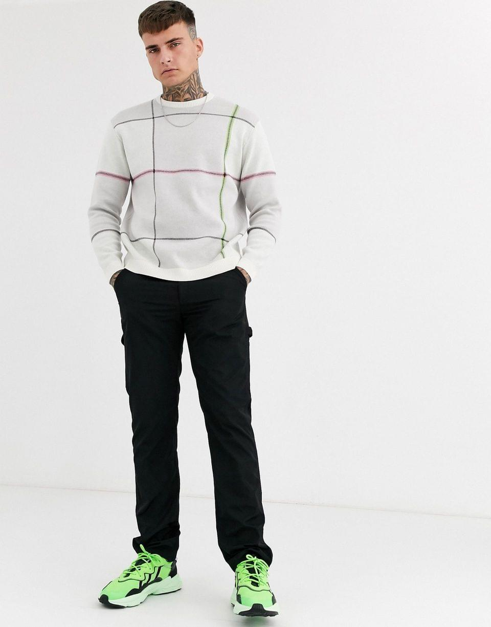 Men's knitted oversized check sweater in gray