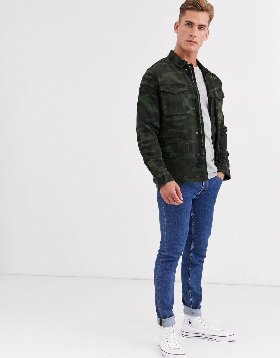 Men's Selected Homme four pocket utility coach jacket in camo