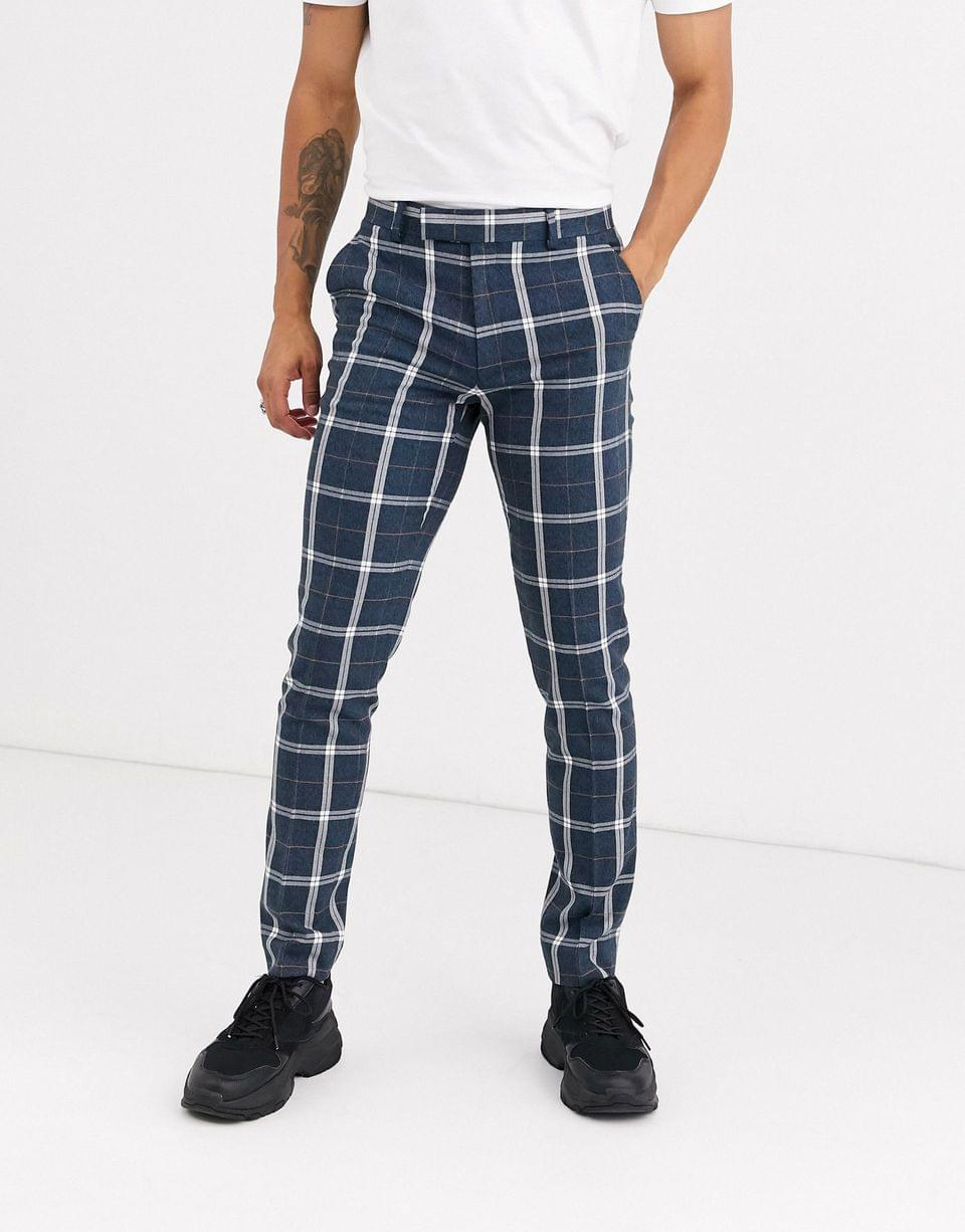 Men's skinny suit in blue and white check
