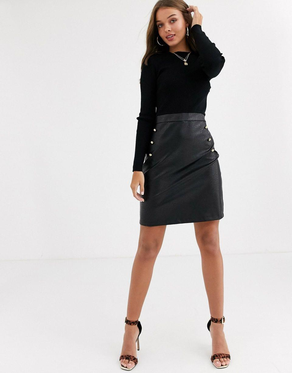 Women's Lipsy 2 in 1 pu skirt dress with gold button detail in black