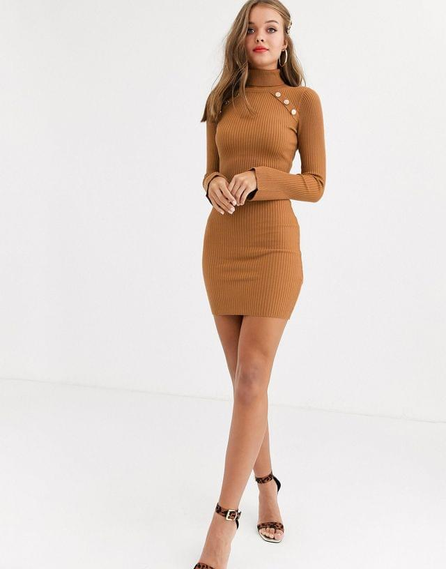 WOMEN Lipsy high neck knitted dress with gold button detail in brown