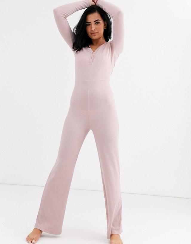 Women's Missguided ribbed loungewear jumpsuit in blush