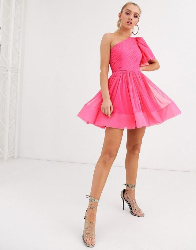 WOMEN Lace & Beads puff ball sleeve mini prom dress in neon pink