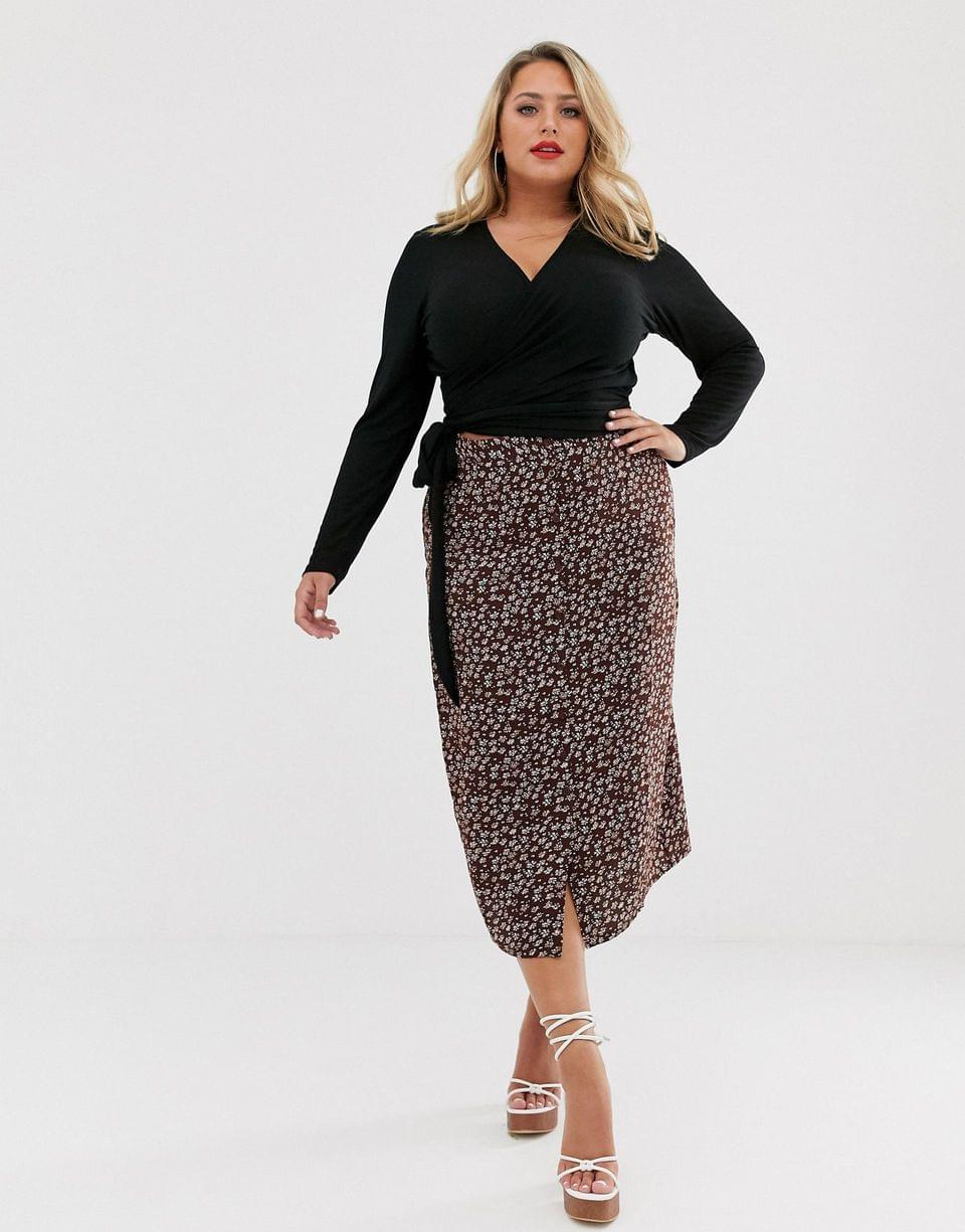 Women's Curve wrap top in rib with long sleeve