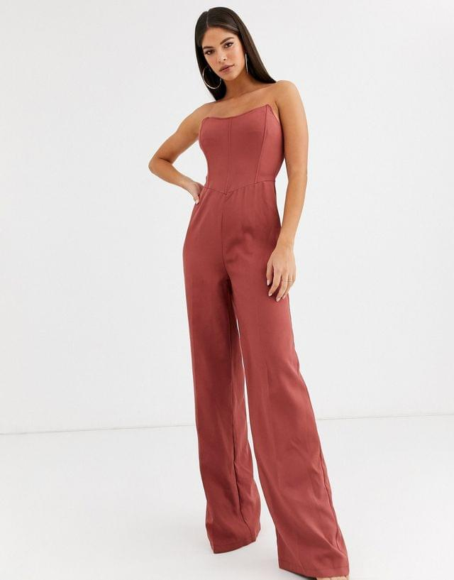 WOMEN Missguided Tall bandeau wide leg jumpsuit in pink
