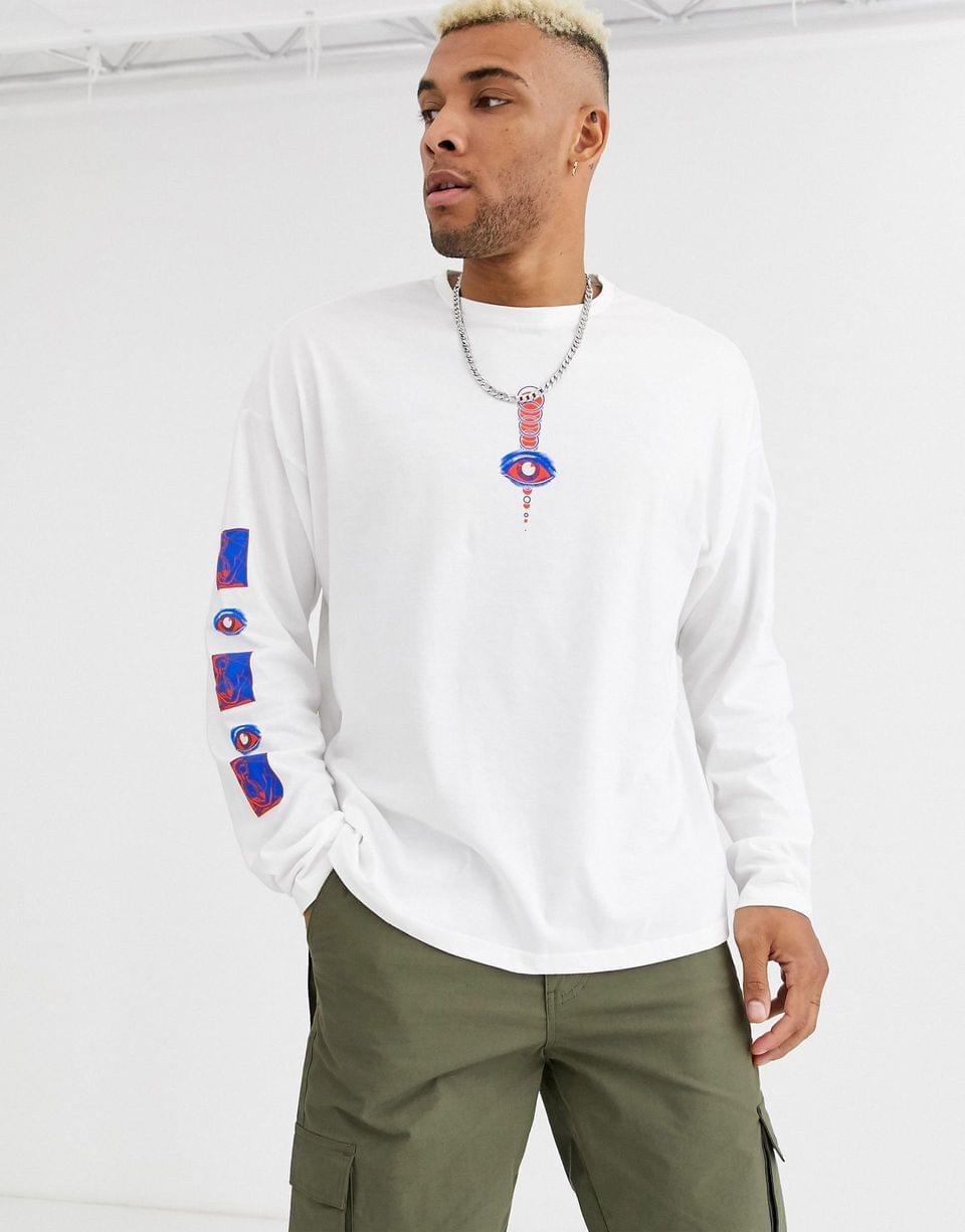 Men's oversized long sleeve t-shirt with astract body and sleeve print