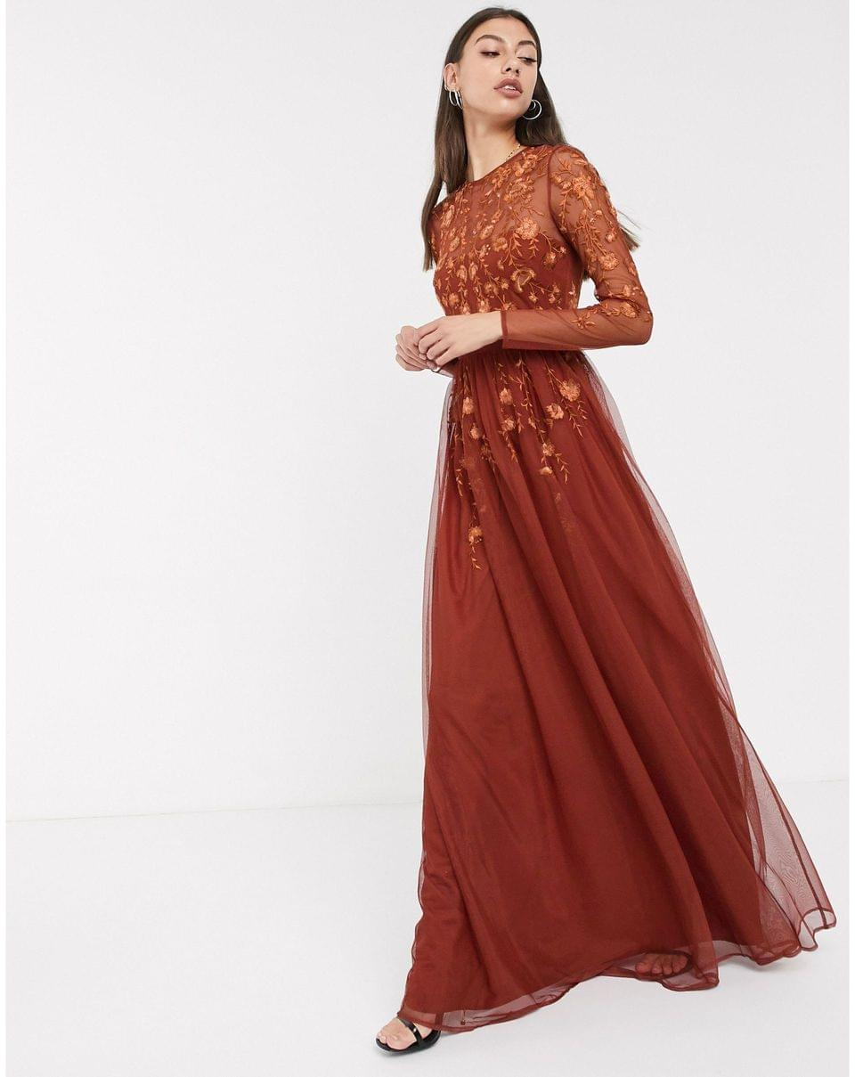 Women's Tall long sleeve maxi dress in embroidered mesh