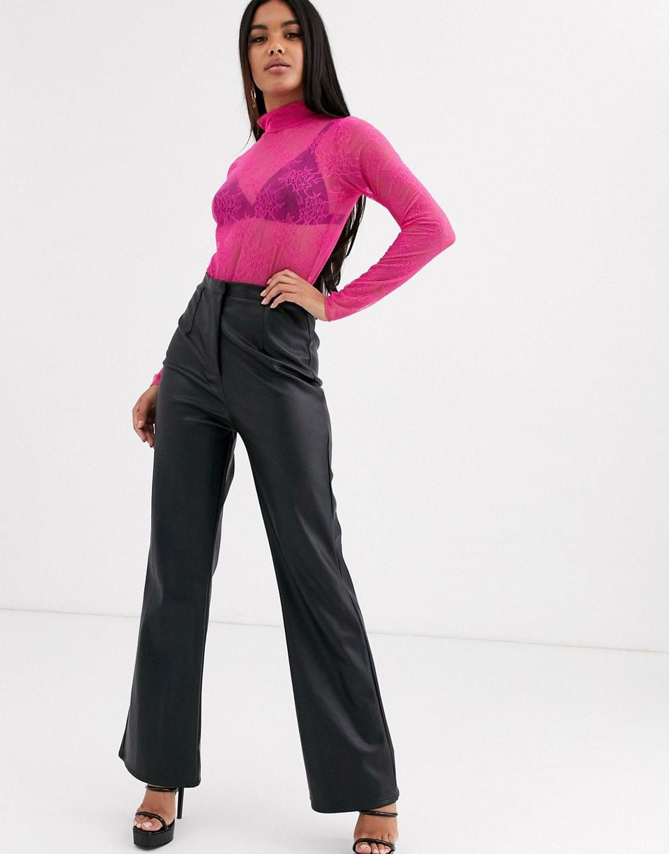Women's lace turtleneck body in pink