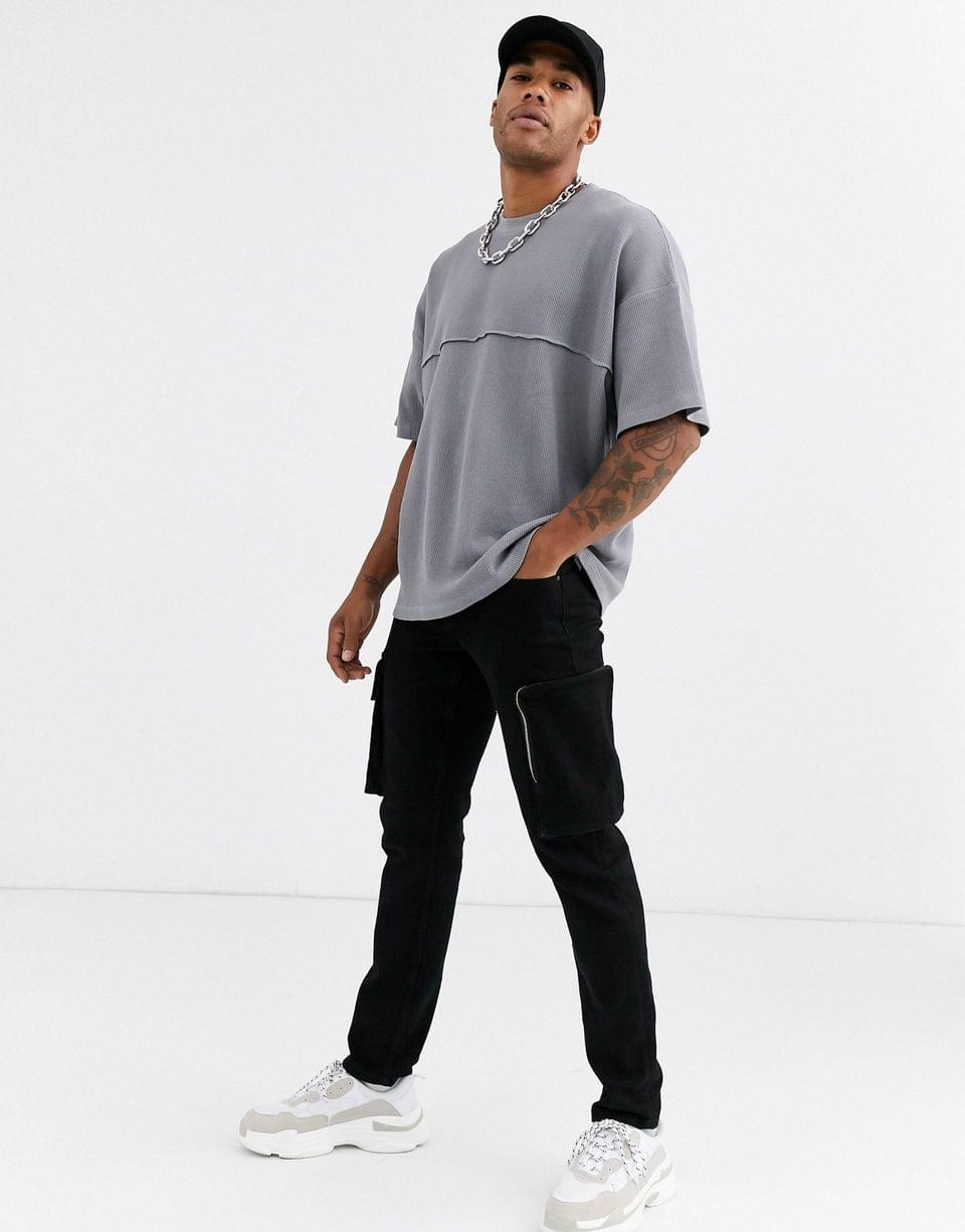 Men's oversized t-shirt with seam in waffle in gray