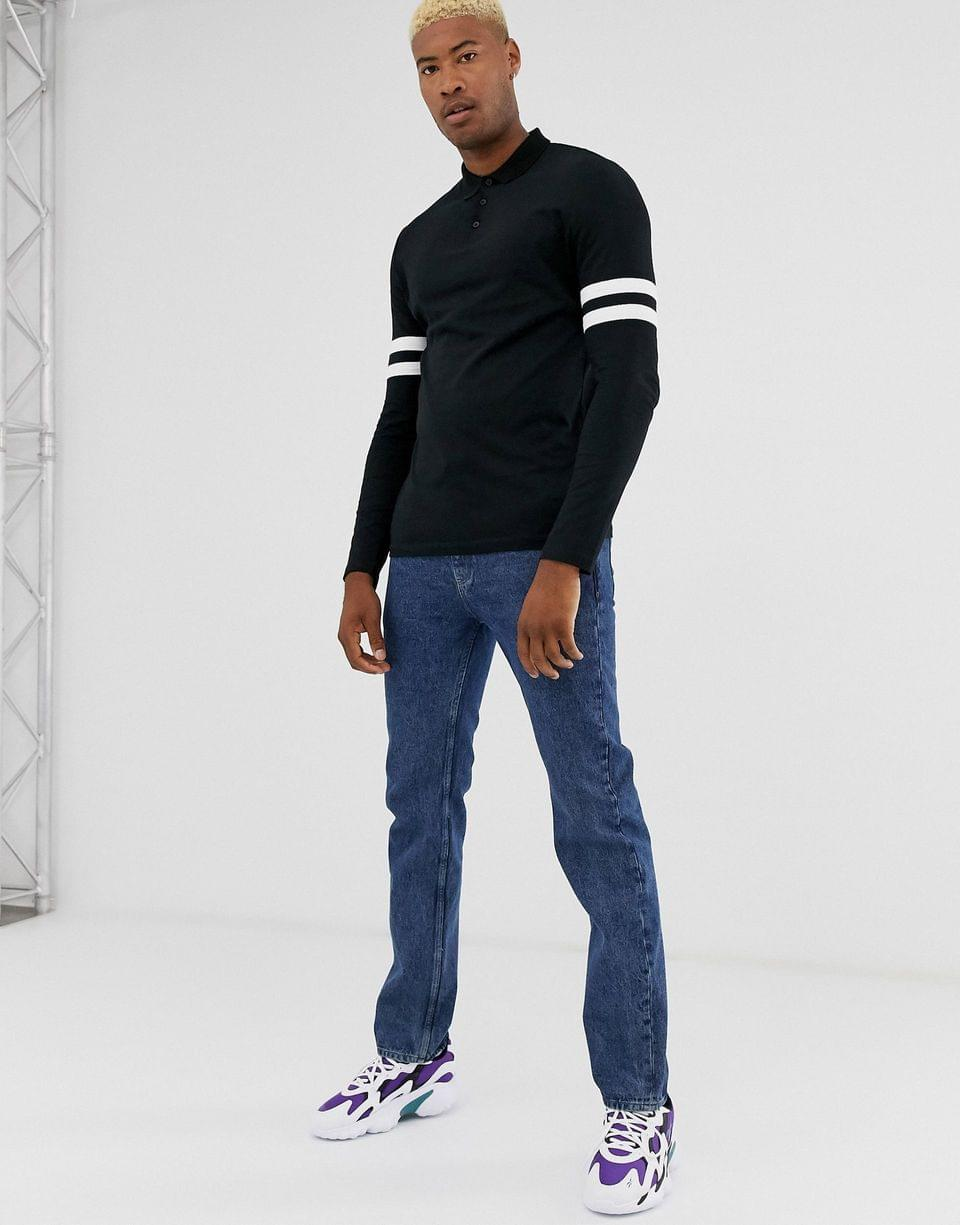 Men's Tall organic long sleeve polo shirt with contrast sleeve stripe in black