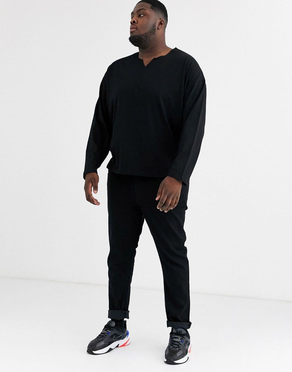 Men's Plus oversized long sleeve t-shirt with raw notch neck in black