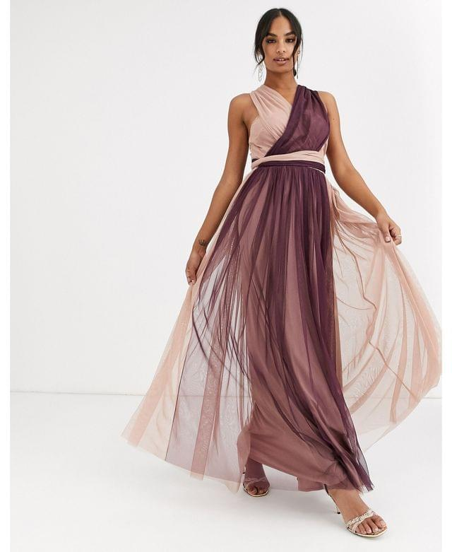 WOMEN Anaya With Love tulle multiway maxi dress in contrast taupe and burgundy