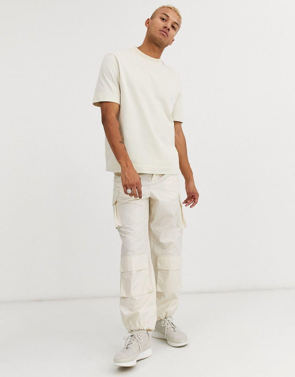 Men's WHITE oversized fit t-shirt in super soft brushed cotton in beige