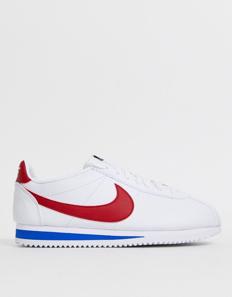 Women's Nike White Red And Blue Classic Cortez Retro Leather Sneakers