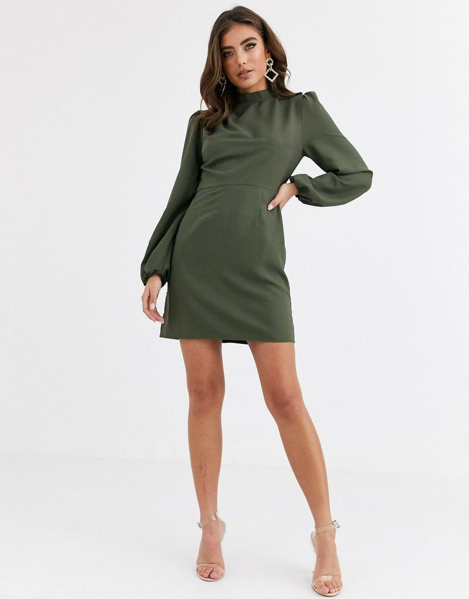 Women's high neck mini dress with long sleeves