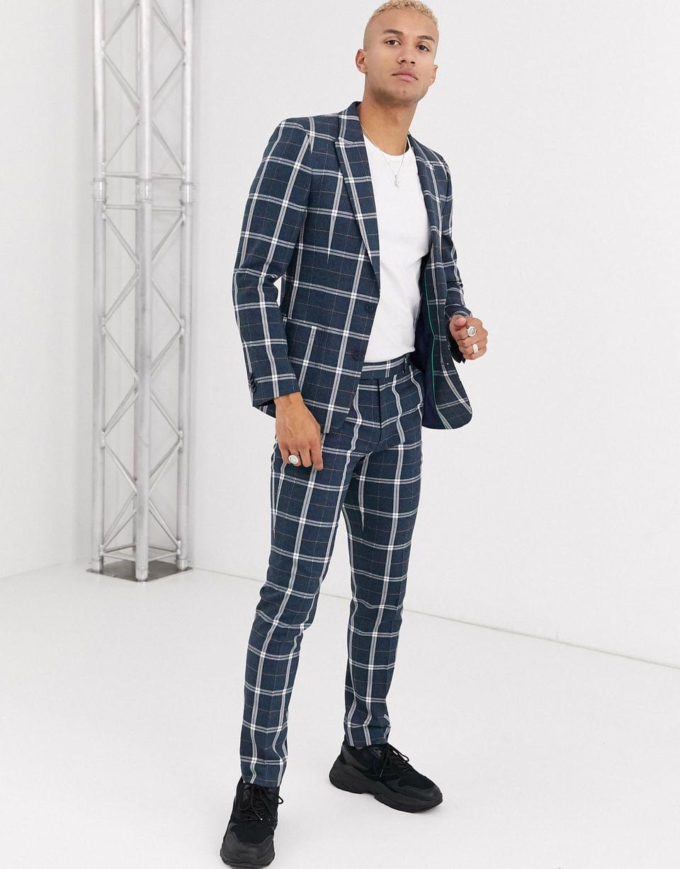 Men's skinny suit jacket in blue and white check