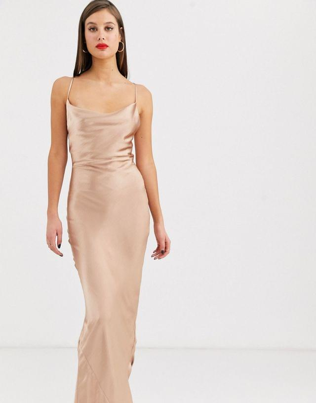 WOMEN Tall cami slip maxi dress in high shine satin with lace up back