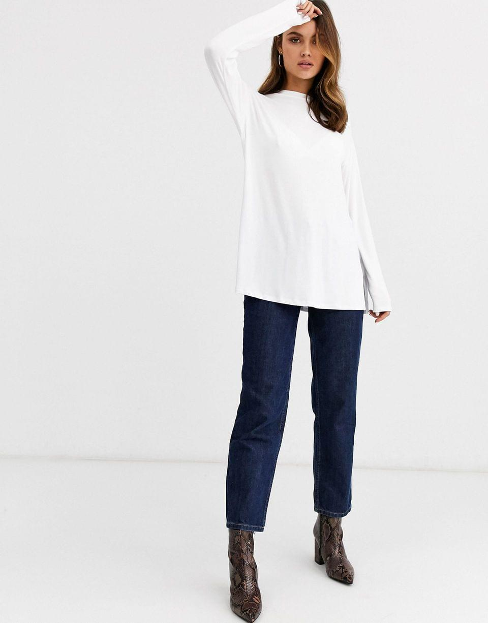 Women's longline top with long sleeve in textured jersey in white