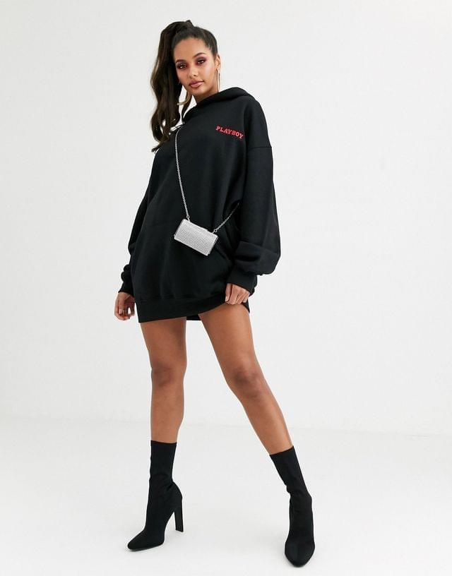 WOMEN Missguided Playboy magazine back graphic hoodie dress in black