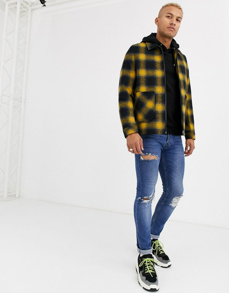 Men's wool mix zip through jacket in yellow and blue check