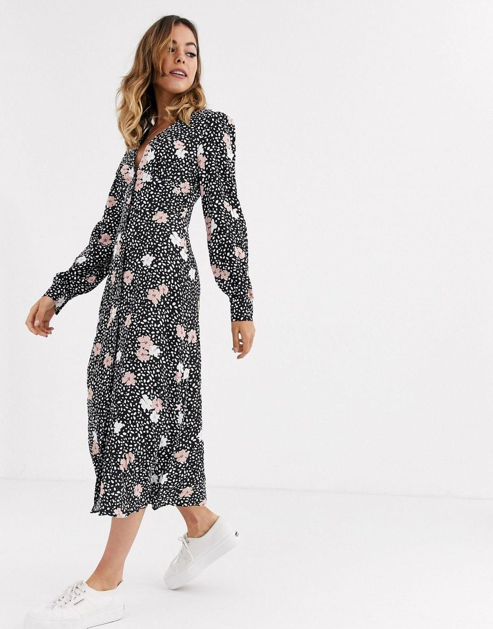 Women's Nobody's Child balloon sleeve dress with button front in contrast spot and pansy