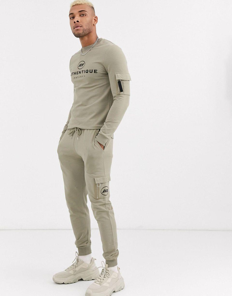 Men's two-piece muscle fit sweatshirt with ma1 pockets & chest logo print in logo print in khaki