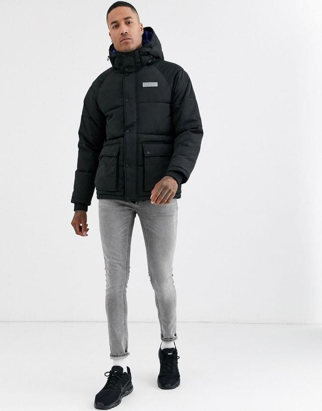 MEN Nicce long puffer coat with hood in black