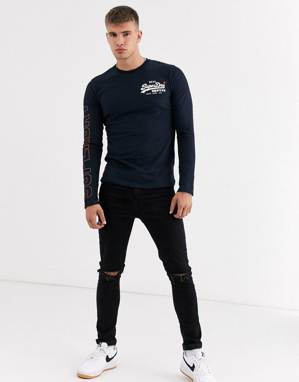 Men's Superdry Vintage logo linear long sleeve graphic t-shirt in navy