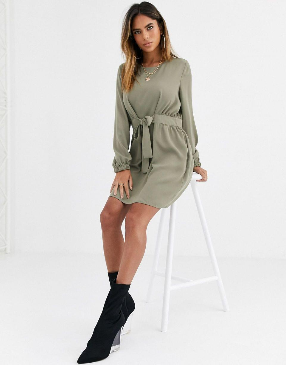Women's chuck on tie waist mini dress with long sleeves