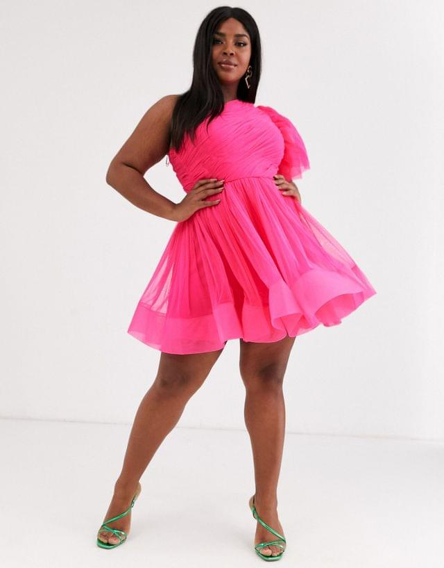 WOMEN Lace & Beads Plus puff ball sleeve mini prom dress in neon pink