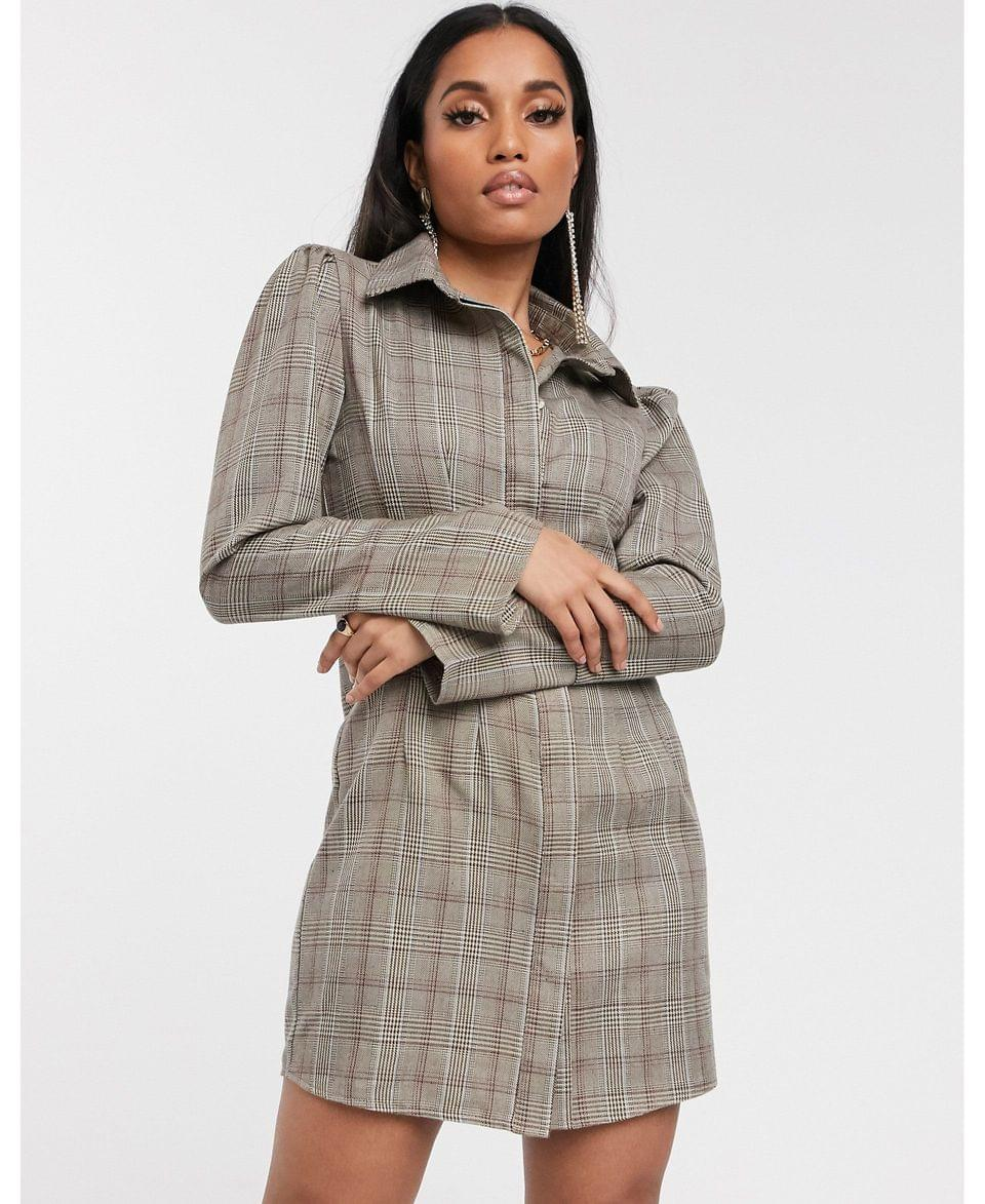 Women's Missguided Petite flute sleeve shirt dress in brown check