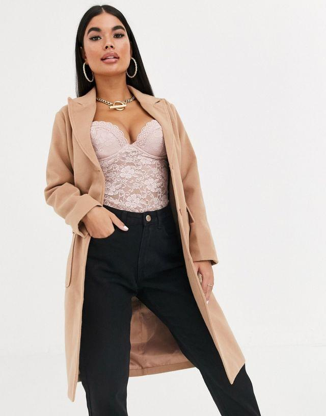 WOMEN Missguided Petite duster maxi coat in camel