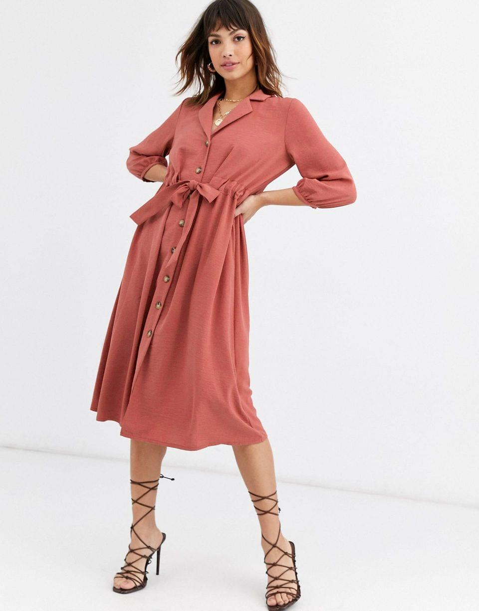 Women's button through midi shirt dress with ruched waist