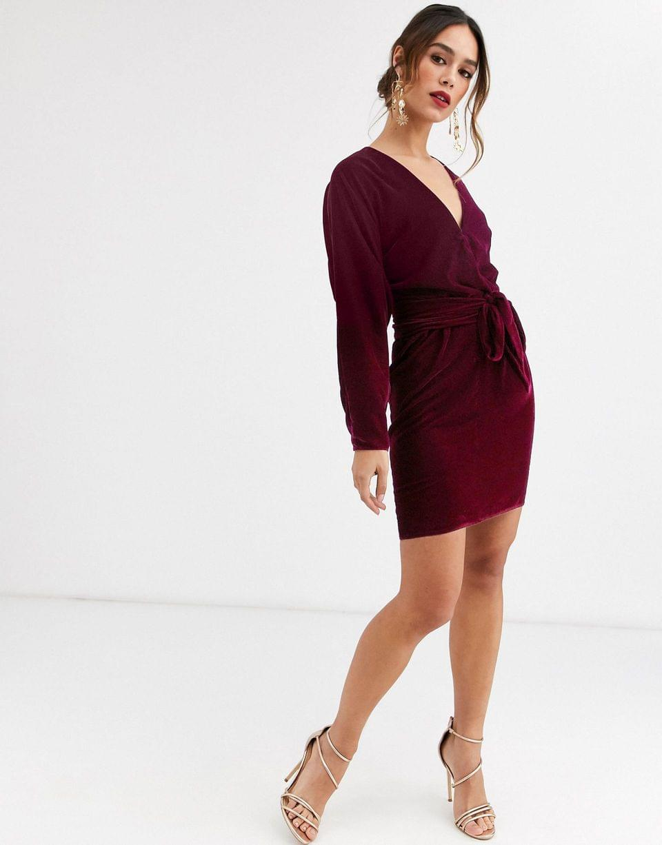 Women's mini dress with batwing sleeve and wrap waist in velvet