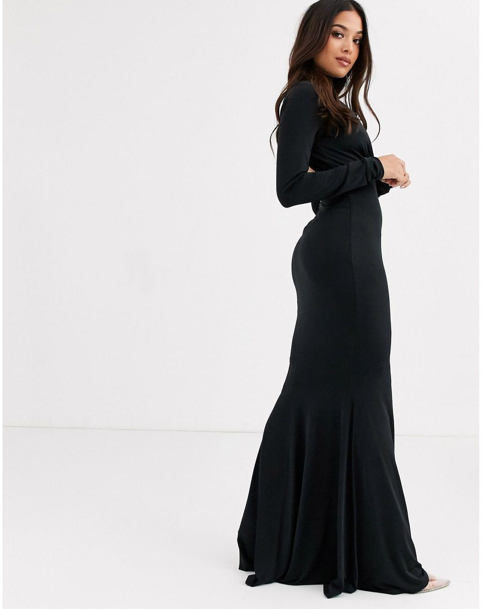 Women's Flounce London Petite high neck fishtail maxi dress with ruched detail in black