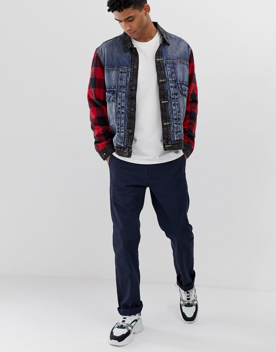 Men's Levi's YOUTH type 2 hybrid wool check sleeves denim trucker jacket in woodsman black/blue mid wash